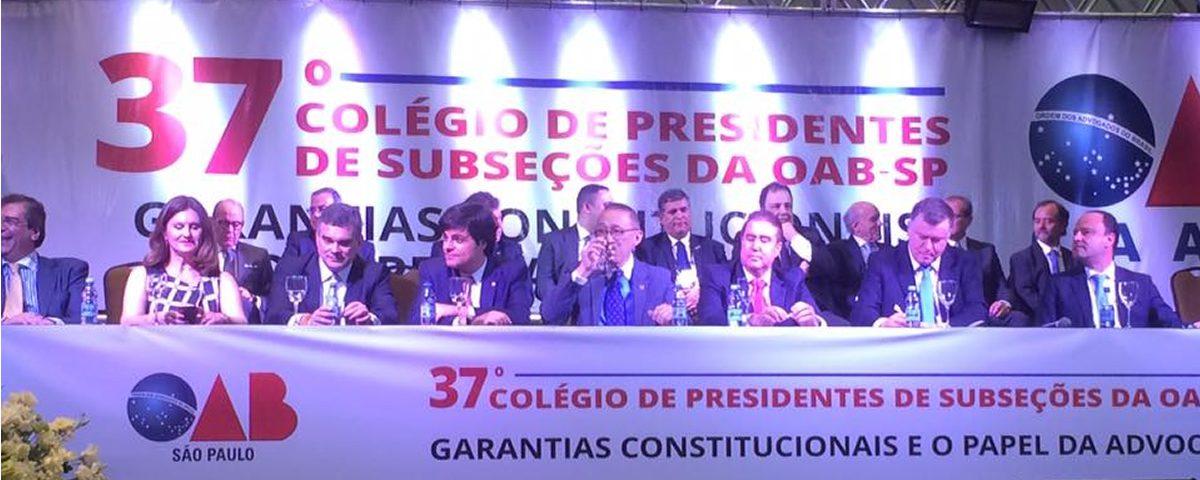 Presidente Alexandre de Sá Domingues representa a OAB Guarulhos na Solenidade de Abertura do Colégio de Presidentes da OAB/SP 2016