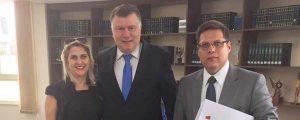 Presidente Alexandre de Sá e a Vice Presidente, Vianei Principato reuniram-se com o Presidente Seccional da OABSP Dr. Marcos da Costa.