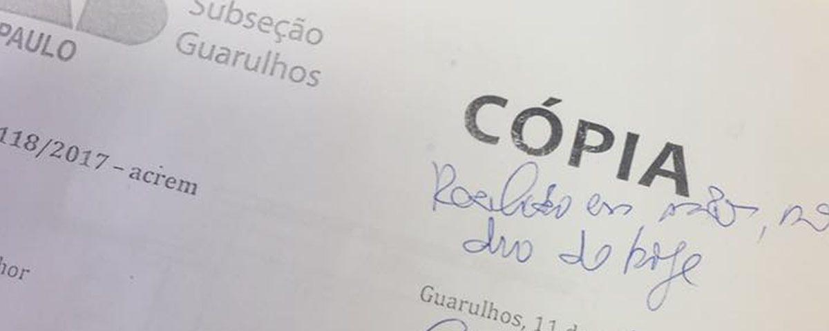 You are currently viewing Presidente Alexandre de Sá entregou em mãos um ofício endereçado ao juiz diretor do Fórum de Guarulhos