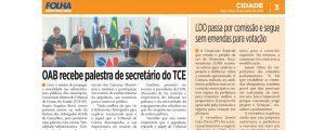 Palestra ministrada pelo Secretário-Diretor do TCE-SP na OAB Guarulhos é destaque em matéria pública no jornal Folha Metropolitana.