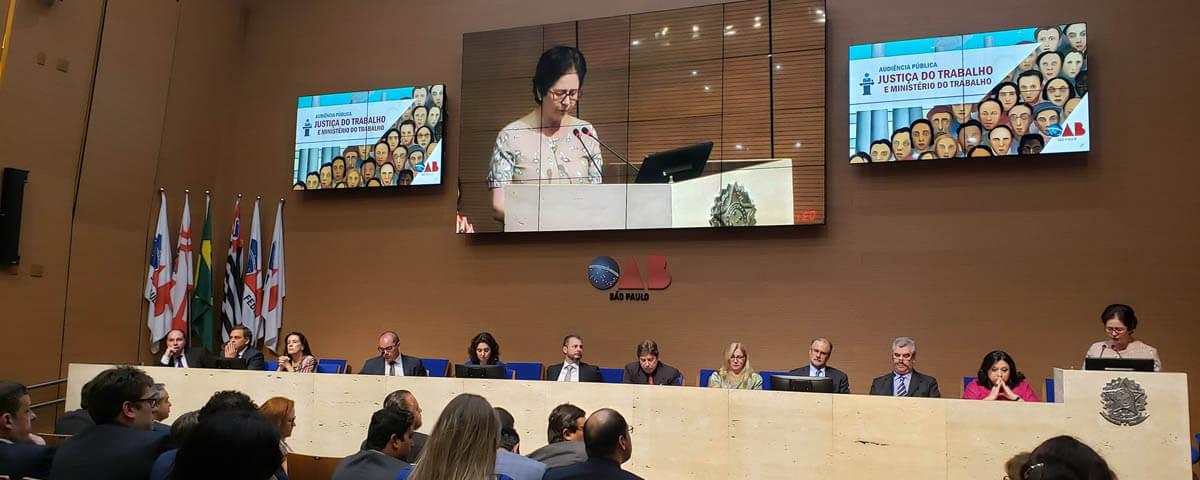 OAB Guarulhos participa de Audiência Pública pela Justiça do Trabalho e Ministério do Trabalho na Sede da OAB/SP.