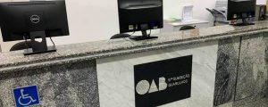 Nova placa de identificação da recepção da OAB Guarulhos.