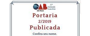 Publicada a Portaria 02/2019