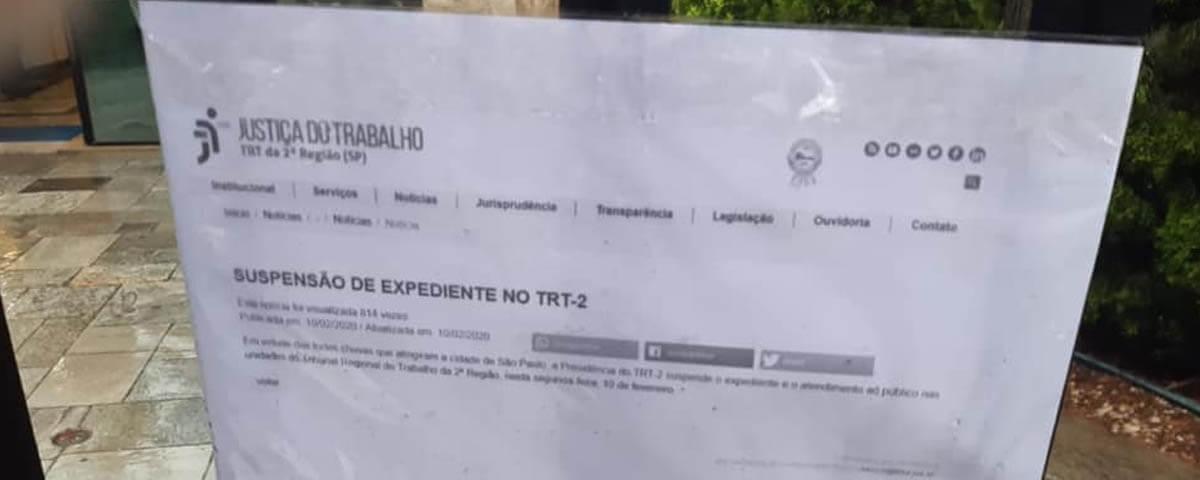 Suspensão do Expediente Tribunal Regional do Trabalho da 2ª Região