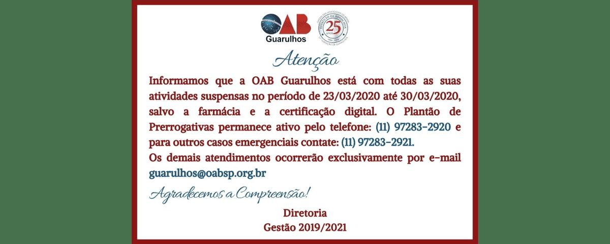 Informações Importantes – Funcionamento da OAB Guarulhos