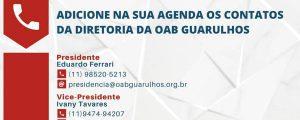 Contatos da Diretoria da OAB Guarulhos