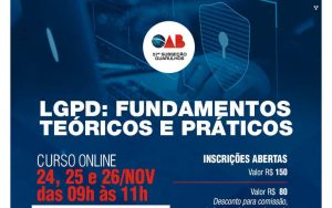 24 a 26/11 –  Curso Online LGPD: Fundamentos Teóricos e Práticos