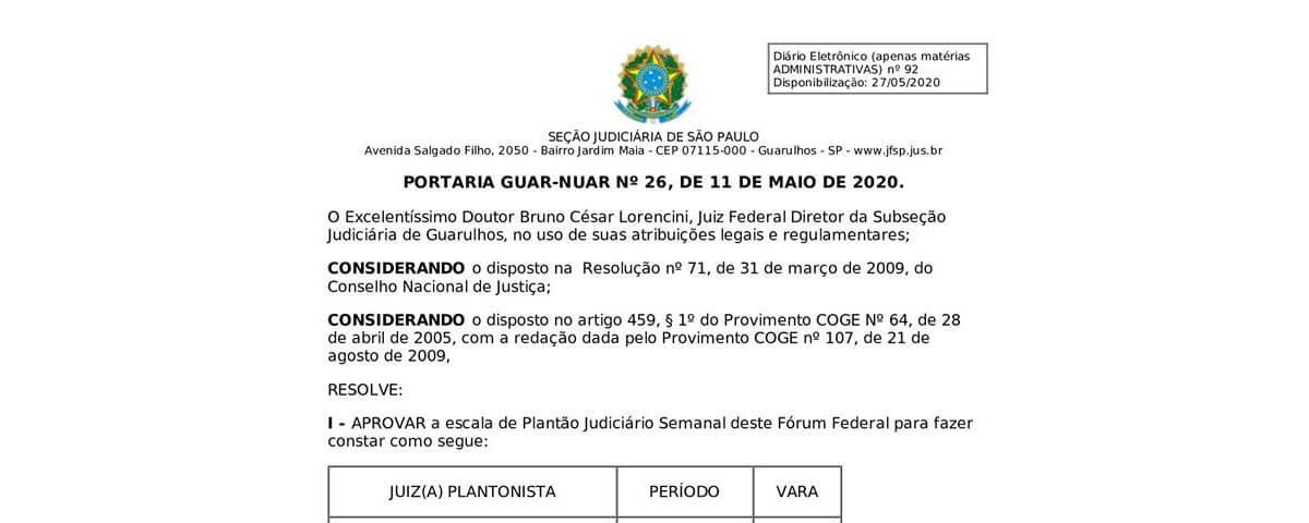 Portaria GUAR-NUAR Nº26, de 11 de maio de 2020
