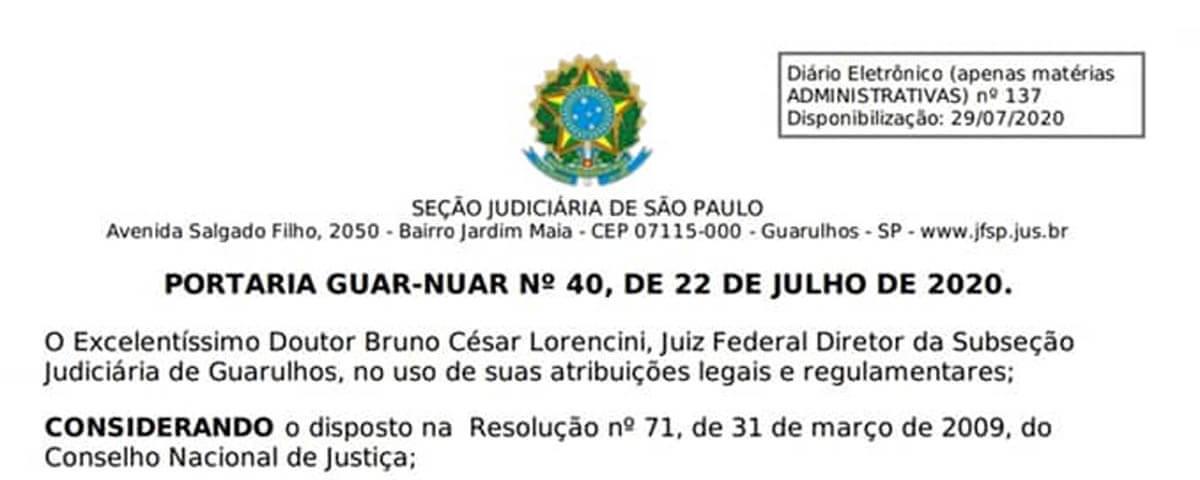 Portaria GUAR-NUAR N° 40, de 22 de Julho de 2020