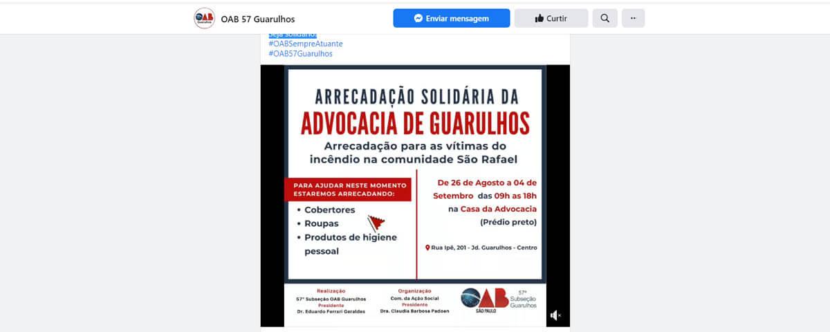 Arrecadação para as vítimas do incêndio na comunidade São Rafael