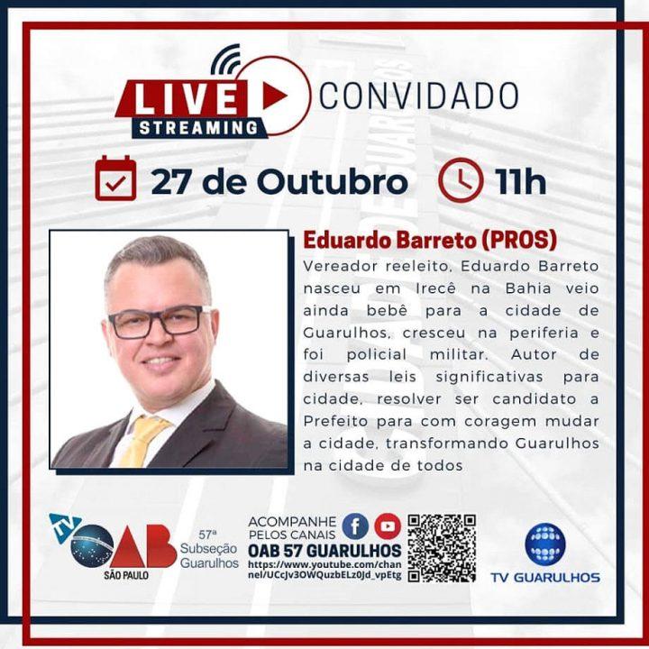 You are currently viewing Entrevistas com os candidatos à prefeitura de Guarulhos – Candidato Eduardo Barreto (PROS)