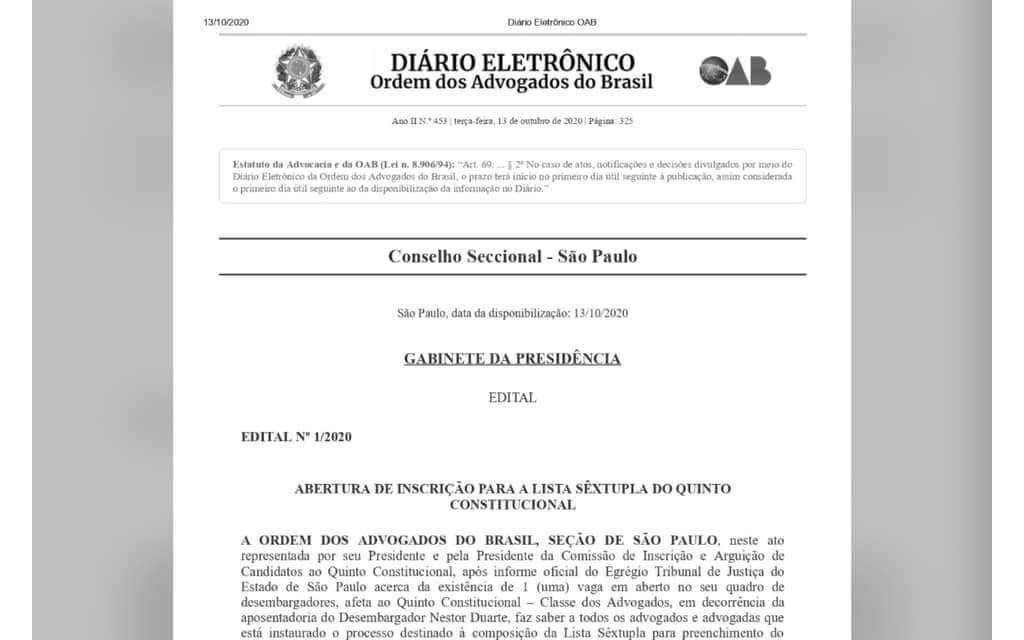 Edital nº 1/2020 relativo a abertura do processo destinado à composição de Lista Sêxtupla para o preenchimento de uma vaga no Tribunal de Justiça do Estado de São Paulo