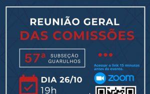 26/10 – Reunião Geral das Comissões