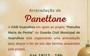 Arrecadação de Panettones para alegrar o fim de ano das famílias amparadas pelo projeto Patrulha Maria da Penha
