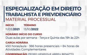 """Pós Graduação ESA Guarulhos """"Especialização em Direito Trabalhista e Previdenciário – Material Processual"""""""