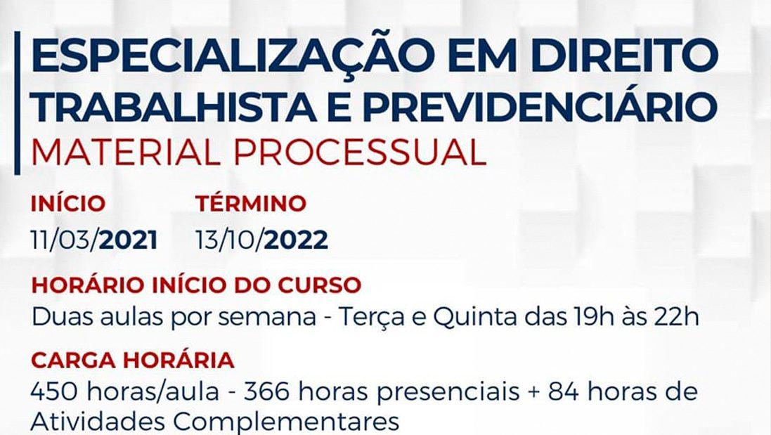 """Pós Graduação ESA Guarulhos """"Especialização em Direito Trabalhista e Previdenciário – Material Processual."""""""