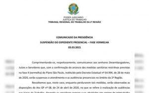 Retorno da suspensão das atividades presenciais no Tribunal Regional da 2a. Região