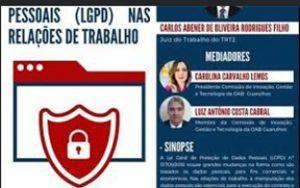 Transmissão da webinar sobre o tema: O impacto da LGPD nas relações de trabalho