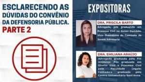 """Read more about the article Webinar sobre o tema: """"Esclarecendo dúvidas sobre o convênio com a Defensoria Pública – Parte II"""""""