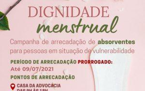 Read more about the article Campanha Dignidade Menstrual – Período de Arrecadação Prorrogado até dia  09/07/2021.